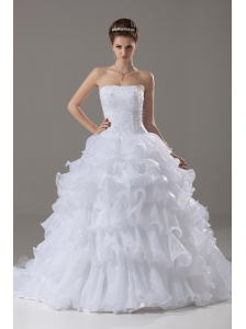 Layer Strapless Beading Ball Gown Beading Brush / Sweep Wedding Dress