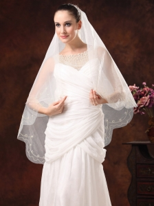 One-Tier Embroidery Tulle Graceful Wedding Veils