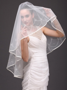 One-tier Organza With Embroidery Bridal Veil On Sale