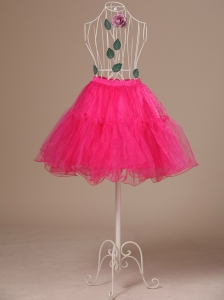 Perfect Hot Pink Organza Mini-length Girls Petticoat