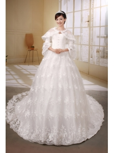 Princess Chapel Train Classical Wedding Dress With Lace Beaded Decorate Off The Shoulder Neckline