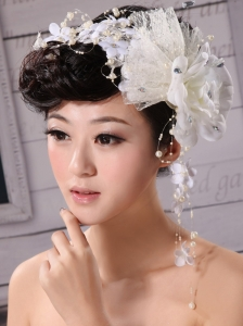 White Pure Tulle and Chiffon With Imitation Pearls Fascinators