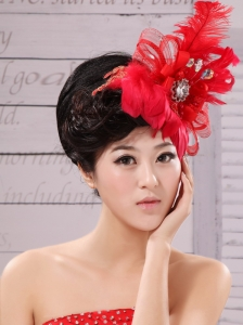 Red Feather Flower Special Occasion Fascinators