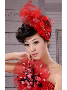 Red Hairpins Birdcage Veils Tulle Feather Outdoor and Special Occasion and Outdoor