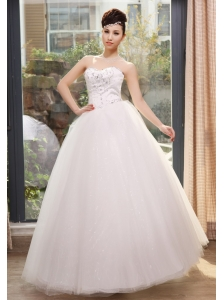 Rhinestones and Sequins Decorate Bodice Sweetheart Neckline Tulle Floor-length Wedding Dress