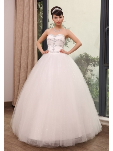 Rhinestones Decorate Up Bodice Sweetheart Neckline Tulle Floor-length 2013 Wedding Dress