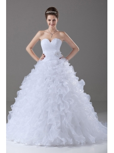Ruffles Ball Gown Sweetheart Brush / Sweep Organza 2013 Wedding Dress