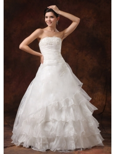 Ruffles Layered and Lace Decorate Bust For 2013 Wedding Dress