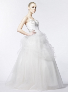 Spaghetti Strap Floor-length Beading Tulle Wedding Dress Garden / Outdoor A-Line / Princess