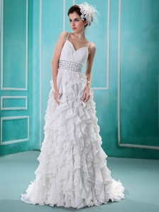 Spaghetti Straps Ruffled Layers Wedding Dress With Beading and Ruch