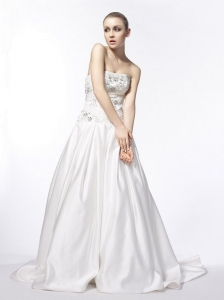 Sweet Strapless A-Line / Princess Beading Taffeta Wedding Dress Court Train