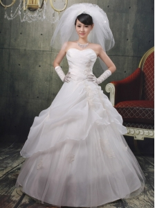 Sweetheart A-line Applqiues Decorate Wholesale Wedding Dress With Organza 2013
