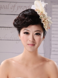 Champagne Tulle and Chiffon Fascinators With Imitation Pearls