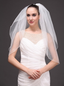 Two-tier Tulle Elbow Length Wedding Veil With Cut Edge