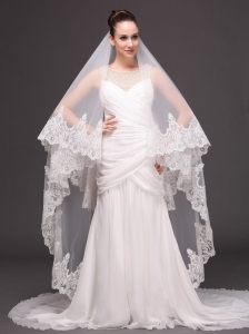 Two-tier Tulle Wedding Veil With Appliques Decorate