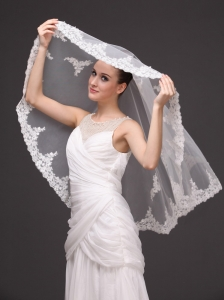 Two-tier Tulle With Appliques Elbow Length Wedding Veil