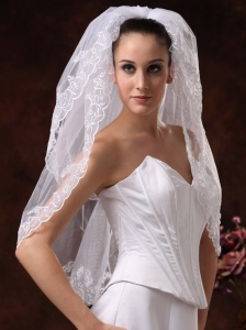 Two-tier With Embroidery Tulle Graceful Wedding Veils