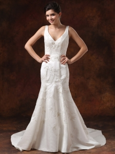 V-neck Embroidery and A-line For Wedding Dress Court Train