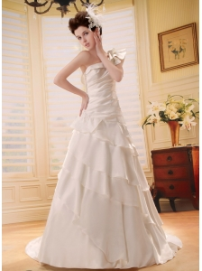 2013 Custom Made Ruffled Layers One Shoulder Wedding Dress Chapel Train