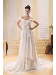 2013 Off The Shoulder Wedding Dress With Appliques Chapel Train