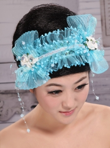 Aqua Blue Tulle Headpieces With Rhinestones and Imitation Pearls Decorate