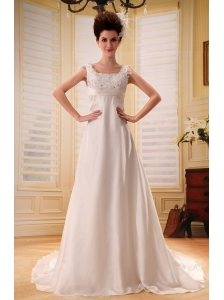 Battle Creek Lace With Beading Decorate Bodice Straps White Chiffon Court Train 2013 Wedding Dress