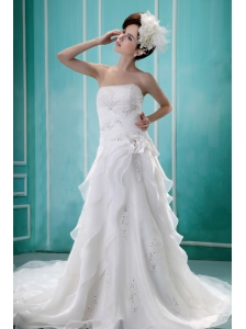 Beaded A-line Strapless Custom Made Wedding Dress With Organza Ruffles
