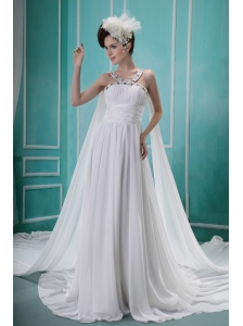Beaded Decorate Straps and Bust Ruch Watteau Train Brush Train White Chiffon Wedding Dress For 2013