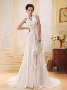 Beautiful Halter Appliques Wedding Dress With Brush Train For Custom Made