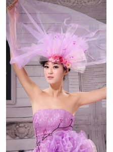 Beautiful Headpieces Multi-color Hand Made Flowers Lavender Net For Party Headpieces