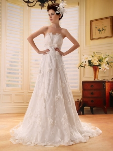 Beautiful Lace 2013 Wedding Dress With Sash Strapless In Wedding Party