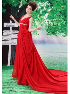 Customize V-neck Red 2013 Prom Dress With Beading and Ruch In Celebrity