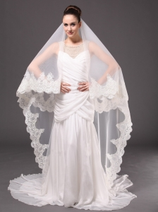 Lace Appliques One-tier Cathedral Tulle Graceful Wedding Veils