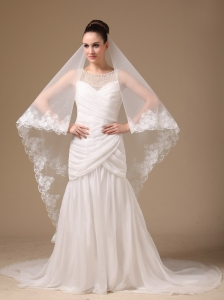 Lace Appliques One-tier Cathedral Tulle Stylish Wedding Veils