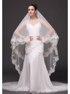 Lace Appliques Tulle Bridal Veils For Wedding