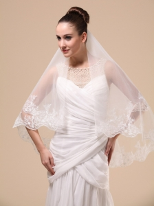 Lace Appliques Two-tier Tulle Popular Wedding Veils