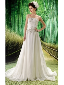 Empire Spaghetti Straps Beaded Bodice Chiffon Brush Train Wedding Dress