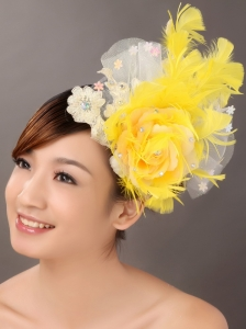 Feather Appliques Yellow Special Occasion Fascinators