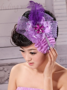 Feather Ribbon Pearl Lavender Bridal Headpiece