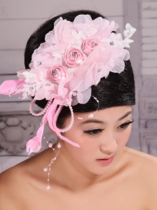 Fully Handmade Beaded and Flowers Decorate For Party Rose Pink Headpieces