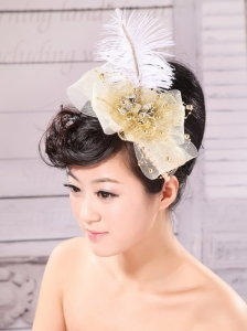 Gold Feather and Side Clamp Diamond For Headpieces