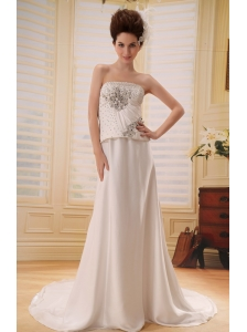 Gorgeous Beaded Decorate Bodice Wedding Dress With Court Train Elastic Wove Satin
