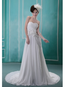 Hand Made Flowers With Beading and Ruch Decorate Bodice Brush Train White Chiffon Wedding Dress For 2013