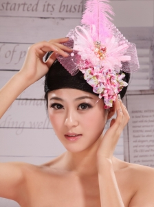 Headpieces For Wedding Party With Imitation Pearls and Feather Decorate Tulle and Printing