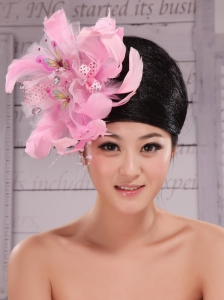 Imitation Pearls and Feather Decorate Tulle and Printing Fabric Headpieces For Speciral Occasion Party