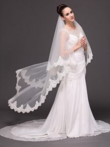 Lace Over Bridal Veils Two-tier For Wedding