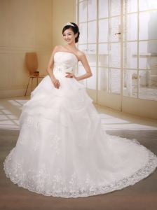 Luxurious Strapless Neckline Lace Princess Beaded Decorate Waist Wedding Dress