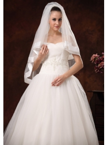 Modest Tulle With Taffeta Trim Bridal Veils For Wedding