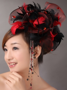 Multi-color Headpieces With Feather and Tulle Headpices Rhinestones Decorate