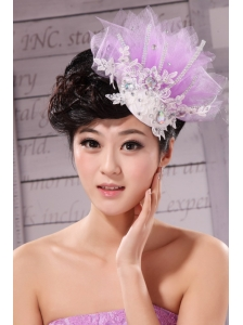 New Headpieces Rhinestone Lavender Net Beading For Party